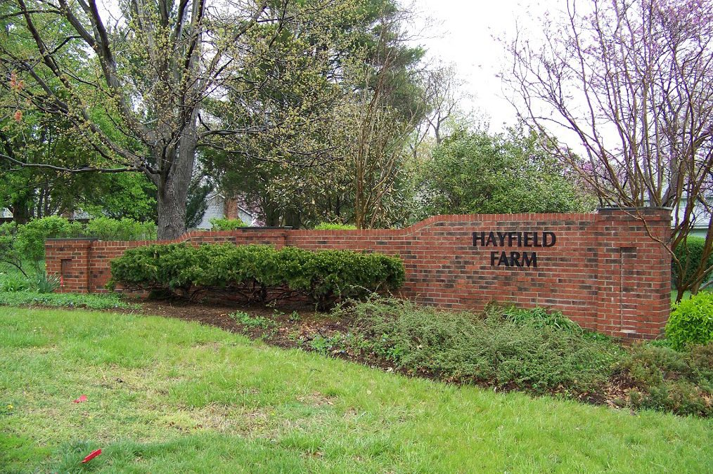 Repairs Completed to Brick Entrance Signs | Hayfield Farm ...